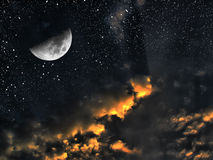 Concetto di tempo di spazio di notte e di giorno Fotografia Stock Libera da Diritti