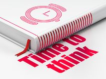 Concetto di tempo: orologio della mano di libro, tempo di pensare su fondo bianco illustrazione vettoriale