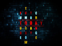 Concetto di tempo: parola oggi nella soluzione delle parole incrociate Fotografia Stock