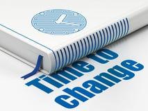 Concetto di tempo: prenoti l'orologio, tempo di cambiare su fondo bianco Fotografie Stock