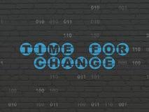 Concetto di tempo: Tempo per cambiamento sul fondo della parete Fotografia Stock