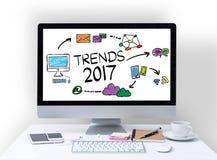 Concetto 2017 di tendenze sullo schermo di computer Immagine Stock