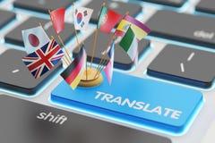 Concetto di traduzione di lingue straniere, traduttore online Immagine Stock