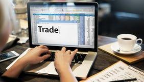 Concetto di transazione commerciale di importazioni-esportazioni di scambio commerciale Fotografia Stock