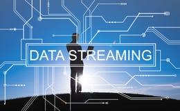 Concetto di trasferimento di informazioni di tecnologia di data streaming fotografie stock libere da diritti