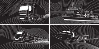 Concetto di trasporto: aeroplano, treno, camion, fodera Il nero e whi Immagine Stock Libera da Diritti