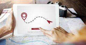 Concetto di trasporto di posizione di direzione di posizione di GPS dell'itinerario Fotografie Stock Libere da Diritti