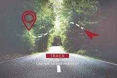 Concetto di trasporto di posizione di direzione di posizione di GPS dell'itinerario Fotografia Stock Libera da Diritti