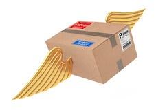 Concetto di trasporto di posta aerea Pacchetti della scatola di cartone con l'ala dorata royalty illustrazione gratis
