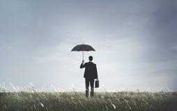 Concetto di tristezza di Depression Anxiety Frustration dell'uomo d'affari Fotografie Stock