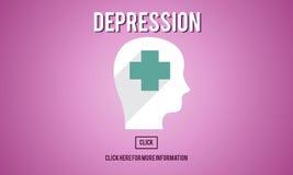 Concetto di tristezza di recessione di declino di diminuzione di depressione illustrazione di stock