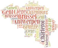 Concetto di turismo di paese Belgio e di grandi città Immagini Stock Libere da Diritti