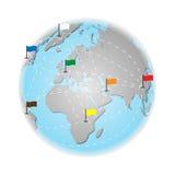 Concetto di turismo e di viaggio intorno al mondo illustrazione di vettore della terra Fotografia Stock