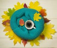 Concetto di umore di autunno con caffè e la sciarpa tricottata sul fondo di legno delle foglie variopinte fotografia stock