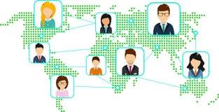 Concetto di una mappa di mondo con un insieme delle icone Immagine Stock