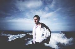 Concetto di vacanza di Beach Coastline Relax dell'uomo d'affari Fotografia Stock