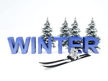 Concetto di vacanza di inverno su fondo bianco Immagini Stock