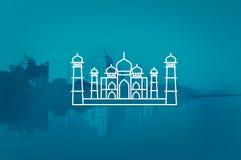Concetto di vacanza di turismo di viaggio di Taj Mahal India Seven Wonders Immagini Stock Libere da Diritti