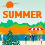 Concetto di vacanza estiva Mare con la spiaggia e la gente Vettore royalty illustrazione gratis