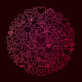 Concetto di Valentine Day Line Icon Circle Fotografie Stock
