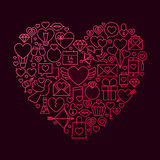 Concetto di Valentine Day Line Icon Heart Fotografie Stock Libere da Diritti