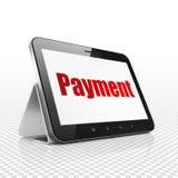 Concetto di valuta: Computer della compressa con il pagamento su esposizione Fotografia Stock