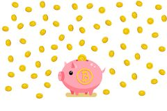 Concetto di valuta cripto Porcellino salvadanaio con bitcoin Immagine Stock
