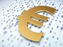 Concetto di valuta: Euro dorato su fondo digitale Fotografia Stock Libera da Diritti