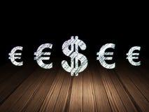 Concetto di valuta: icona del dollaro nella stanza scura di lerciume Fotografie Stock Libere da Diritti