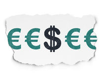 Concetto di valuta: icona del dollaro su carta lacerata Fotografia Stock Libera da Diritti