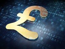 Concetto di valuta: Libbra dorata su fondo digitale Fotografie Stock Libere da Diritti