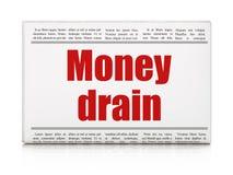 Concetto di valuta: scolo dei soldi del titolo di giornale Fotografia Stock