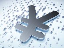 Concetto di valuta: Yen d'argento su fondo digitale Immagini Stock