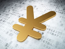 Concetto di valuta: Yen dorati su fondo digitale Immagini Stock Libere da Diritti