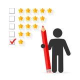 Concetto di valutazione di cinque stelle Immagini Stock
