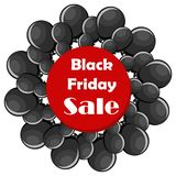 Concetto di vendita di Black Friday con i palloni neri Royalty Illustrazione gratis