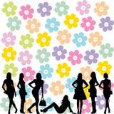 Concetto di vendita con le siluette nere delle donne di modo royalty illustrazione gratis