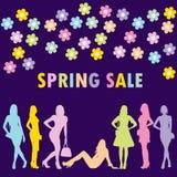 Concetto di vendita della primavera con le siluette delle donne di modo illustrazione di stock