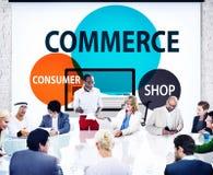Concetto di vendita di acquisto del negozio del consumatore di commercio immagine stock