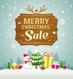 Concetto di vendita di Buon Natale con il bordo di legno su neve illustrazione di stock