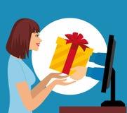 Concetto di vendita di Internet La bella donna prende un presente dal monitor del computer Fotografie Stock