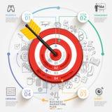 Concetto di vendita di obiettivo di affari Obiettivo con la freccia e gli scarabocchi Immagine Stock