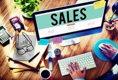 Concetto di vendita finanziario dei soldi di economia di vendite Fotografia Stock Libera da Diritti