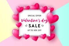 Concetto di vendita di giorno del ` s del biglietto di S. Valentino royalty illustrazione gratis