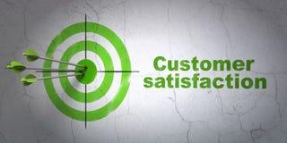 Concetto di vendita: obiettivo e soddisfazione del cliente sul fondo della parete Immagine Stock