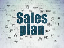 Concetto di vendita: Piano di vendite sulla carta di Digital Immagini Stock Libere da Diritti