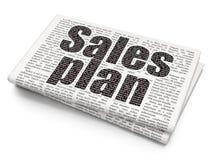 Concetto di vendita: Piano di vendite sul fondo del giornale Immagini Stock Libere da Diritti