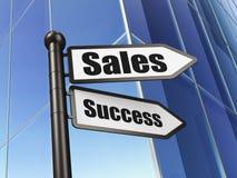 Concetto di vendita: successo di vendite del segno sul fondo della costruzione Immagine Stock Libera da Diritti