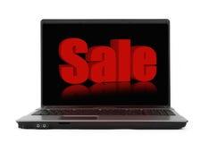 Concetto di vendita sullo schermo del taccuino immagine stock