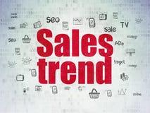 Concetto di vendita: Tendenza di vendite sul fondo della carta di dati di Digital Immagini Stock Libere da Diritti